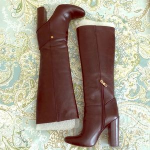 Tory Burch Dark Brown Leather Tall Boots